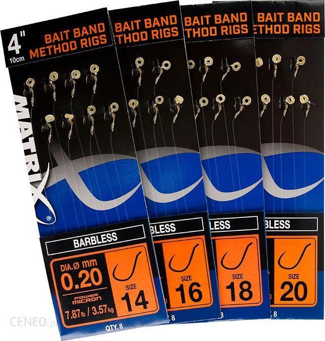 "Fox Matrix 4"" Carp Rigger Method Rigs Size 14 Barbless X 8 Bands (Grr001)"