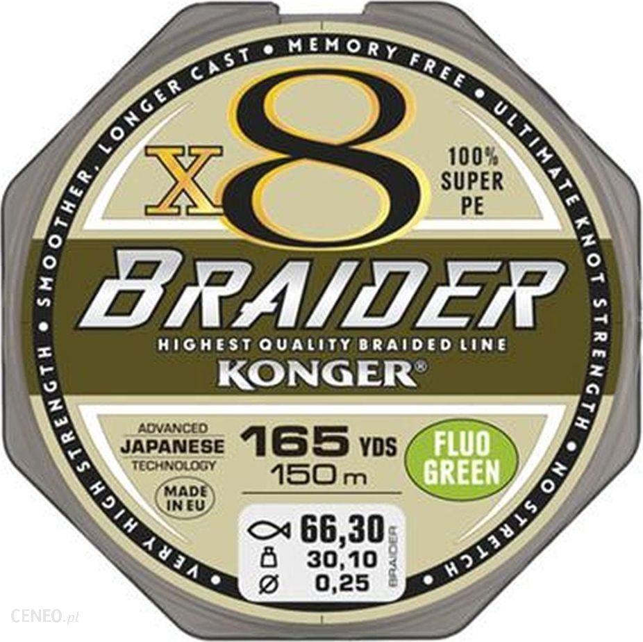 Konger Plecionka Braider X8 0.08Mm/150M Fluo Green