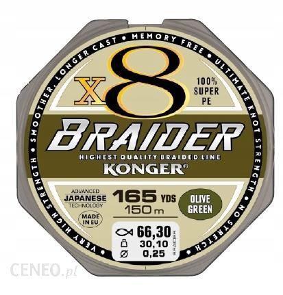 Konger Plecionka Braider X8 0.10mm/150m Green